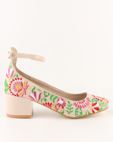 Footwork Farrah Embroidered Block Heel Court Shoe Beige