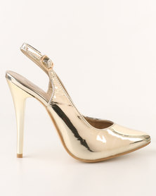Footwork Kai High Heel Slingback Court Shoe Gold