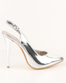 Footwork Kai High Heel Slingback Court Shoe  Silver