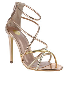 Footwork Zinnia Multi Strap Heeled Sandal Gold