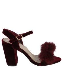 Footwork Heather Block Heel Sandal With Tassel Burgundy