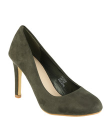 Footwork Tulip Heeled Court Shoe Khaki
