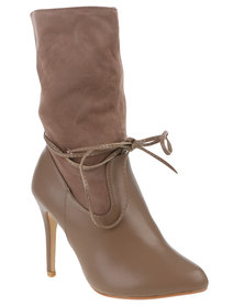 Footwork Heeled Mid-Calf Boot With Laces Cherry Taupe