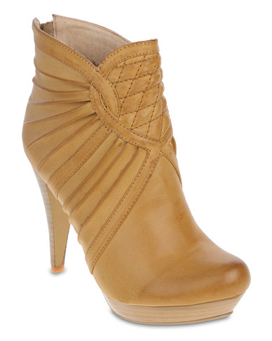 Footwork Detailed Ankle Boots Camel Brown
