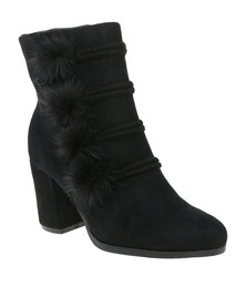 Footwork Blossom Heeled Mid Calf Boot Black