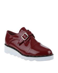 Footwork Ren Casual Flat Monk Strap Shoe Red