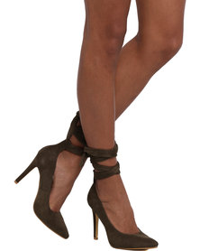 Footwork Clover Court Heel With Ankle Laces Khaki