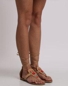 Footwork Malin Embroidered Flat Sandals Beige