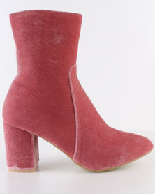 Footwork Rose Heeled Ankle Boot Blush Pink