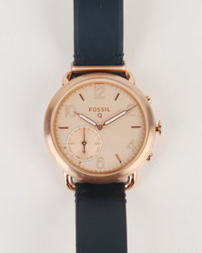 Fossil Q Tailor Leather Strap Watch Blue