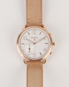 Fossil Q Tailor Leather Strap Watch Nude