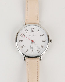 Fossil Jacqueline Leather Strap Watch Nude