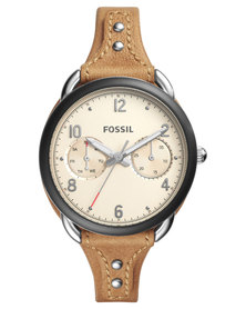 Fossil Tailor Casual Tan Leather Strap Watch