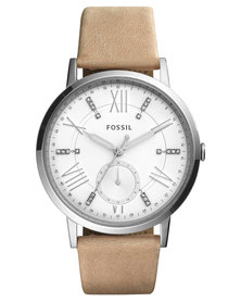 Fossil Gazer Dress Watch with Leather Strap Nude