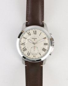 Fossil Q Grant Leather Strap Watch Brown