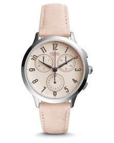 Fossil Abilene Sport Leather Strap Watch Blush