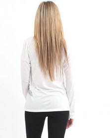 Fox Angled Long Sleeve Top White