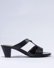 Froggie Alana Leather Heeled Sandals Black