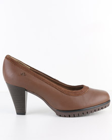 Froggie Spain Saddle Leather Court Heel Tan