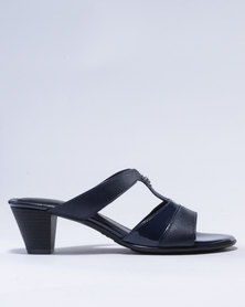 Froggie Alana Leather Heeled Sandals Navy