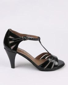 Froggie Minky Leather Heeled Sandal Black