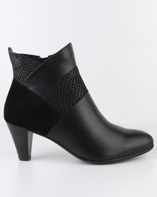 Froggie Asia Leather Heeled Fabric Block Ankle Boot Black