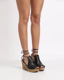 Froggie Salina Leather Wedge Sandal Black