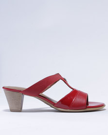 Froggie Alana Leather Heeled Sandals Red