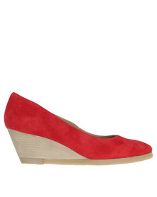 Froggie Greta Leather Mid Heel Wedge Shoe Red