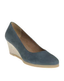 Froggie Greta Leather Mid Heel Wedge Shoe Blue