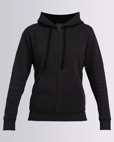 Fruit of the Loom Lady Fit Zip Through Hooded Sweat Black