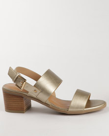 G Couture Block Heel Sandals Gold