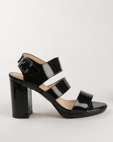 G Couture Block Heel Sandals Black