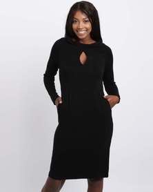 G Couture Collared Slit Front Tunic With Pocket Detail Black