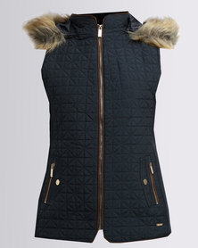 G Couture Sleevless Puffer Jacket With Hood Navy