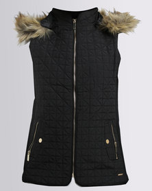 G Couture Sleevless Puffer Jacket With Hood Black