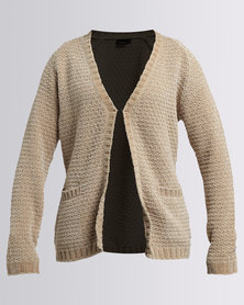 G Couture Chenille Knitwear Cardigan Stone