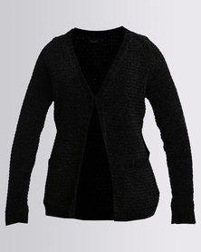 G Couture Chenille Knitwear Cardigan Black