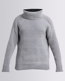 G Couture Chenille Cowl Neck Knitwear Jumper Light Grey