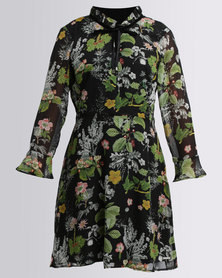 G Couture Fit And Flare Frilled Neckline Dress Green