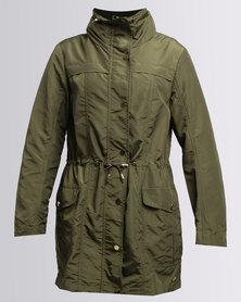 G Couture Longer Length Parka Jacket Olive Green