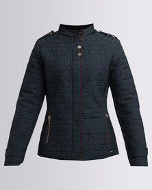 G Couture Quilted Jacket With Piping Navy