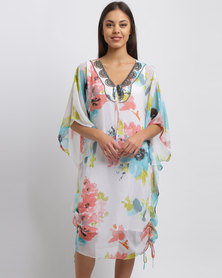 G Couture Beaded Neckline Printed Chiffon Tunic Multi