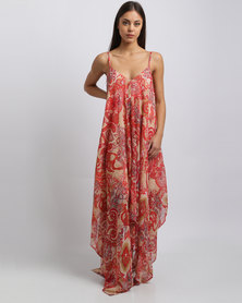 G Couture Paisley Printed Strappy Hanky Dress Red