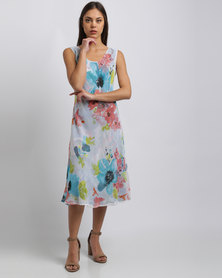 G Couture Printed Chiffon Reversible Dress Multi