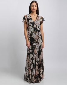 G Couture V Neck Flower Printed Fluted Hem Dress Multi