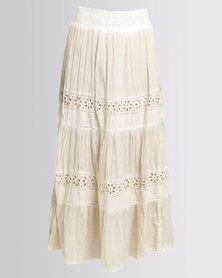 G Couture Cotton Maxi Skirt Beige