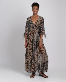 G Couture Leopard Printed Mockwrap Maxi Dress Multi