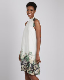 G Couture Printed Sleevless Shift Dress Milk/Green