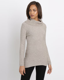 G Couture Diagonal Ribbed Cowl Neck Jumper Taupe